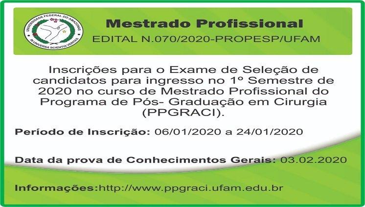 Inscrições PPGRACI 2020/1