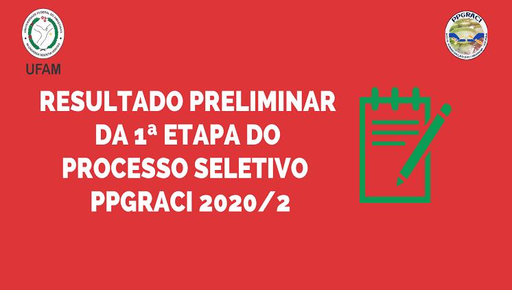 Resultado Preliminar Primeira Etapa PPGRACI 2020/2